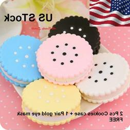 2 Pcs Cookies Contact Lens Case Cute Box Travel Kit Mirror H