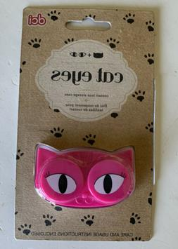 CATS EYES CONTACT LENS STORAGE CASE BRIGHT PINK LOTS OF CHAR