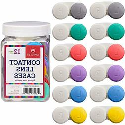 Contact Lens Cases 12 Pack Assorted Separate Colors for Left