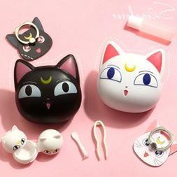 Sailor Moon Cute Luna Cat Contact Lenses Box Glasses Case Le